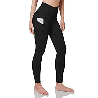 ODODOS Women's High Waist Yoga Pants with Pockets,Tummy Control,Workout Pants Running 4 Way Stretch Yoga Leggings with Pockets,Black,Large