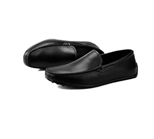Sandali Colore in Uomo Punta Tela Morbido Stivali Pelle Tondo Scarpe Sportivi A Stagione Affari Nastro Black1 Casual TgnF1wqx