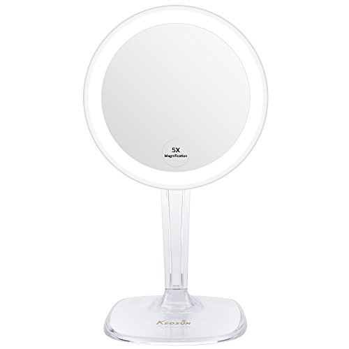 "KEDSUM 5X Magnifying Lighted Makeup Mirror,Desktop Vanity Mirror with Adjustable Height 12.6-15.7"",Cosmetic Magnification Mirror with Lights,Wireless Tabletop Mirror,Lighted Mirror, Rotates 360 (Heights Bath Light)"