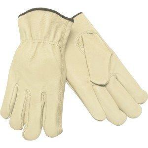 Leather Palm Gloves, Pigskin, Shirred, M, PR