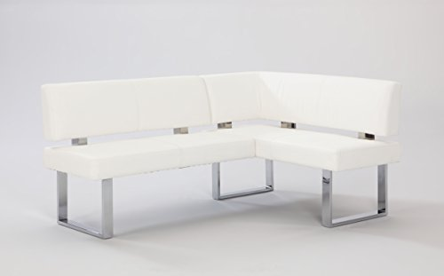 Milan Lillian Faux Leather Nook, White (Kitchen Bench Dining Corner)