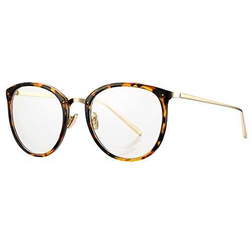 Vintage Round Optical Glasses Frame Hipster Non-prescription Retro Oval Eyewear with Clear Lens for Women - Tortoise Eyewear