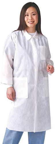 (Medline NONSW100M Multi-Layer Lab Coat with Knit Cuff and Traditional Collar, Medium, White (Pack of 30))