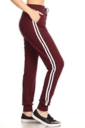 Super Soft Womens Joggers Sweatpants with Pockets Track Bottoms Varsity Side Stripes Burgundy Large