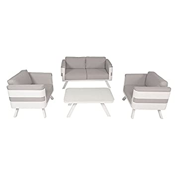 Salon de jardin en aluminium blanc coussins gris Carrare: Amazon.fr ...