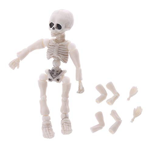 YDZN Mini Movable Mr. Bones Skeleton Human Model Pose Skull Full Body Mini Figure Toy Halloween Desk Ornament]()