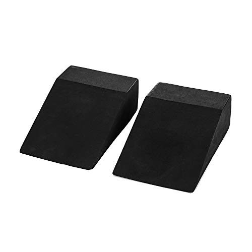StrongTek Yoga Foam Wedge Blocks for Women (Pair) Soft, Supportive Exercise Accessories | Balance, Strength, Form | Pilates, Crossfit, Fitness, Squats, Pushups, Planks | Black