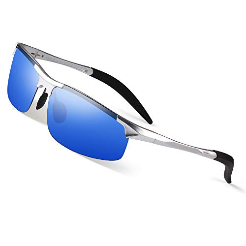 Bertha Mens HOT Fashion Driving Polarized Sunglasses for Men Al-Mg Metal Frame Ultra Light Golf Fishing Sports Sunglasses (Mirror Blue)