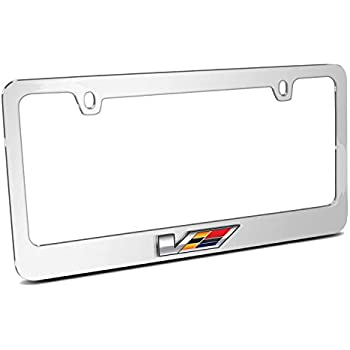 Cadillac V Logo Chrome Solid Brass License Frame Elite 9030292