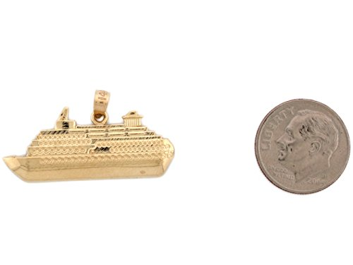 14k Real Gold Cruise Ship Travel Memory Charm Pendant by Jewelry Liquidation (Image #2)