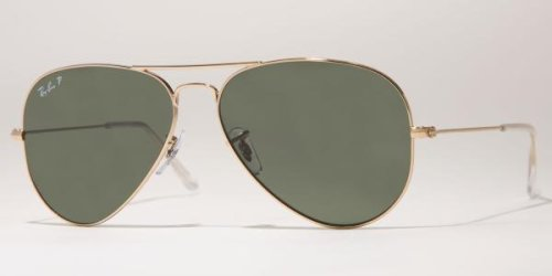 Ray-Ban RB3025 Aviator Large Metal Sunglasses 58 mm, Polarized, Arista Gold/Polarized Crystal - Aviator Sunglasses Ban Ray
