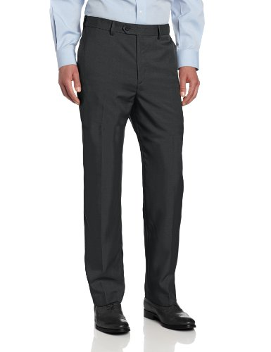 Savane Men's Select Edition Crosshatch Flat Front Dress Pant, Charcoal, 40x32