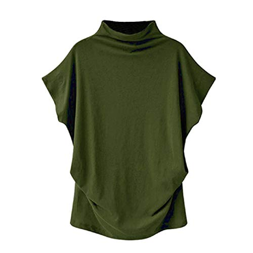 (Bat-Wing Sleeveless Tops for Women Pure Color Summer Casual Blouse Turtleneck Basic Pullover Shirts Plus Size S-6XL Army Green)