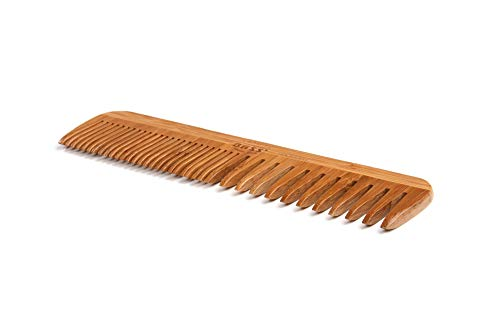 (Bass Brushes | Grooming Comb | Premium Bamboo Teeth and Handle | Wide Tooth/Fine Tooth Combination | Dark Finish | Model W3 - DB)