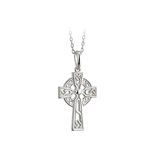 Little Tara Jewelry Celtic Cross Necklace Girls Silver Plated Small Made in Ireland