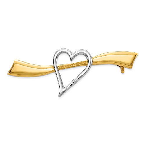 14k Yellow Gold Solid Heart Pin Woman Hair Fine Jewelry For Women Valentines Day Gifts For Her from ICE CARATS