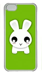Cute Rabbit on Green Iphone 4s Hard Shell with Transparent Edges Cover Case by Lilyshouse