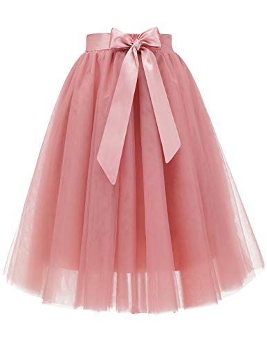 Bridesmay Women's Knee Length 5-Layered Tulle A-line Tutu Skirt Evening Party Prom Skirt Blush XL -