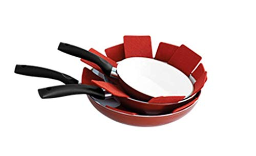 PADDED POT AND PAN PROTECTORS (SET OF 8 - RED)
