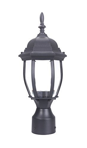 LIT-PaTH Outdoor Post Light Pole Lantern Lighting Fixture with One E26 Base Max 100W, Aluminum Housing Plus Glass, Matte Black Finish (Black)