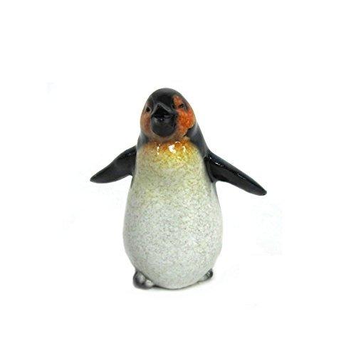 Penguin Glass Figurine (Antarctica Wildlife Playful Baby Emperor Penguin Figurine)