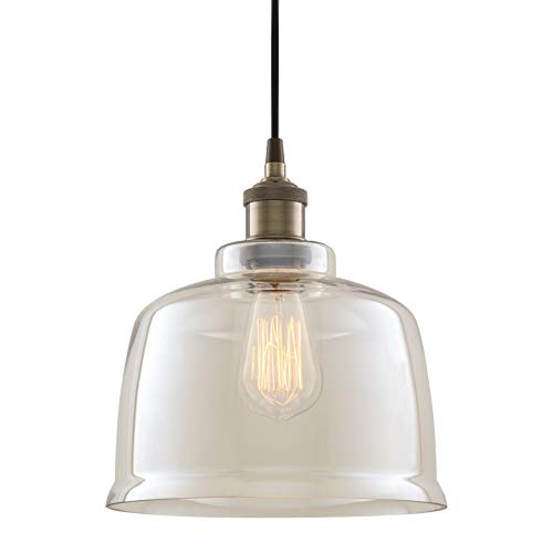 Kira Home Hawthorne 9″ Vintage Industrial Pendant Light + Tinted Glass Shade, Adjustable Wire, Antique Brass Finish
