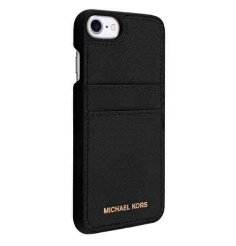 Michael Kors Saffiano Leather Pocket Case for iPhone 8 & iPhone 7, Black ()