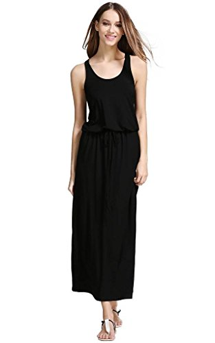 Buenos Ninos Women's Sleeveless Racer Back Drawstring Waist Blouson Maxi Dress Black L