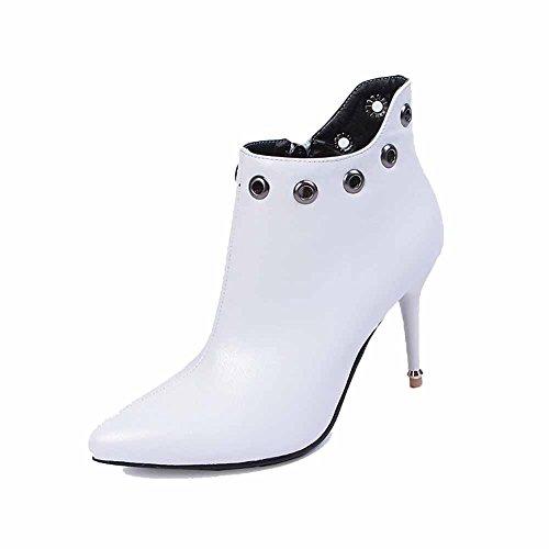 AllhqFashion Damen Rein PU Leder Stiletto Reißverschluss Spitz Zehe Stiefel mit Metallisch Weiß
