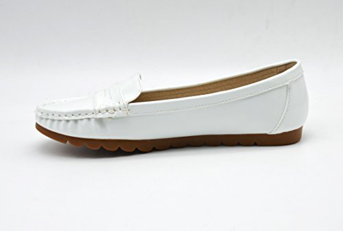 Oh My Shop Women's Loafer Flats White tCMERDY