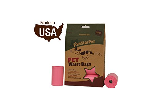 Five Star Pet 120 Count, 9 x 14.25 Poop Bags Dog Waste Bags, Made in USA, 8 Refill Rolls, Pink