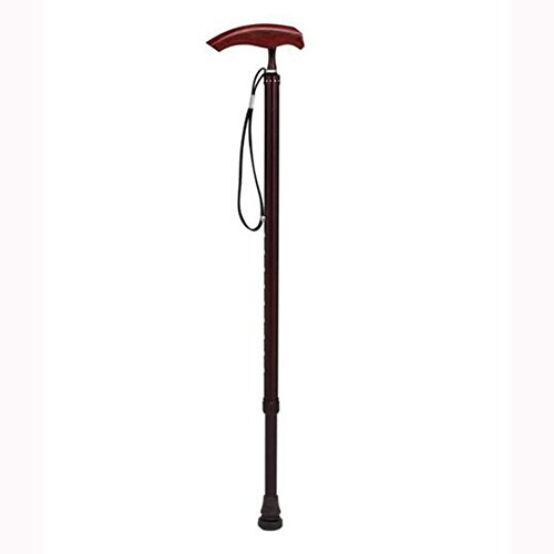 LPY-CYD-803 Crutch Aluminum Alloy Rosewood Comfortable Handle Anti-Lost Hand Rope Walking Sticks, Adjustable Height 74-96.5cm , Red wine ()
