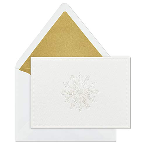 Hallmark Signature Gold Holiday Boxed Cards, Embossed Snowflake (8 Cards with Envelopes)