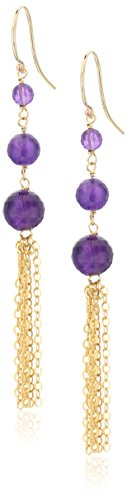Earrings Amethyst Hook Drop (Faceted Amethyst Graduated Size with Gold Filled Chain and Ear Hook Drop Dangle Earrings)