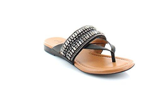 Arturo Chiang Womens Lyra Leather Split Toe Casual Slide, Black, Size 7.0 US/5 UK US