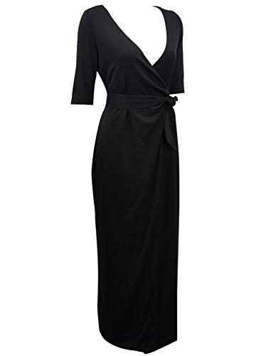 Burgundy Achicgirl Long Bodycon Sleeve Neck Dress Wrap Tie Waist V Women's vZxqIw8rv