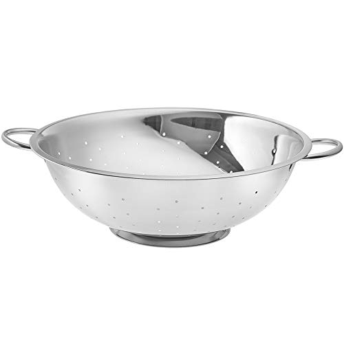 13 Quart Stainless Steel Colander with Non-Slip Handle and Stable Base, Polished Mirror Finish Strainer for Pasta Noodles Fruits Vegetables, Colanders by - Steel 13 Stainless Qt Colanders