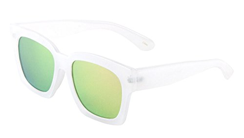 Large Thick Square Sunglasses Flat Lens Color Mirror (White/Yellow-Green, (Courtney Glasses)