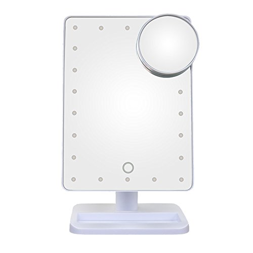 Thinkmax Portable Touch Sensor 22LEDs Fill Light HD Square Cosmetic Plane Mirror with Round 10X Makeup Magnifier Rotatable Stand Makeup - Planes White Mall