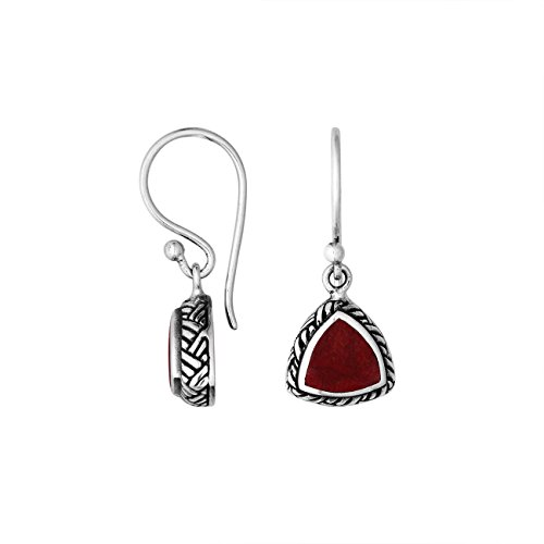 Sterling Silver Trillion Shape Earring with Coral AE-6217-CR ()
