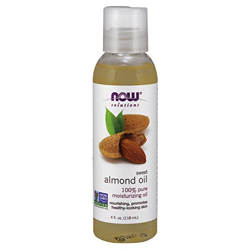 NOW Solutions Sweet Almond Oil 100% Pure Moisturizing Oil 4-Ounce,Promotes Healthy-Looking Skin