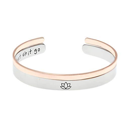 Unique Flower Ring - MS.CLOVER Meditation Bracelet, Let That Shit Go Hand Stamped Inspiration Cuff, Lotus Flower, Yoga Jewelry (Let That Shit Go 5)