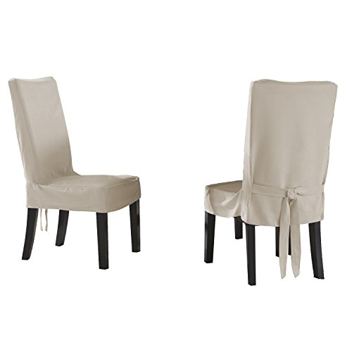 Serta Relaxed Fit Smooth Suede Furniture Slipcover for Short Dining Chair, Ivory