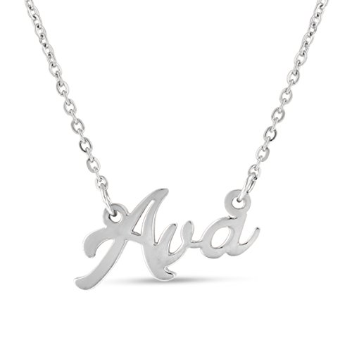 - Ava Nameplate Necklace In Silver Tone