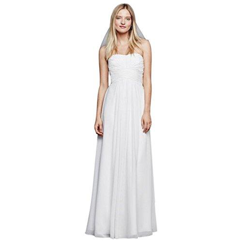 David's Bridal Chiffon Wedding Dress with Strapless Ruched Bodice Style INT15555, White, 16