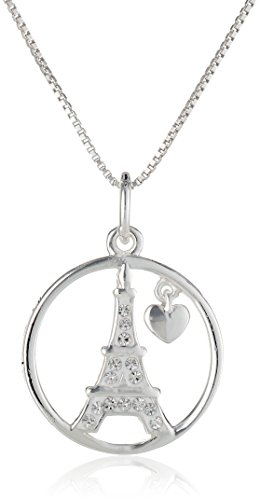 Sterling Silver Circle with Crystal Eiffel Tower