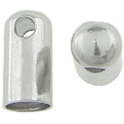 (Milleona Stainless Steel Bullet End-caps with Loop for 4mm Cord or Ribbon)
