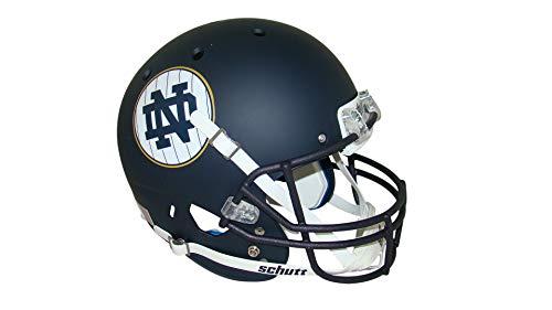 (Notre Dame Fighting Irish Alternate Matte Navy Pinstripe Shamrock Series Schutt Full Size Replica Football Helmet)