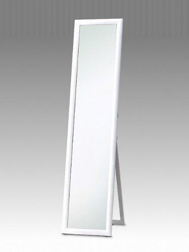 鏡面仕上げ(艶) スタンドミラー ホワイト ラウンドフレーム 33cm幅x150cm高 飛散防止 全身 B004E71TPU ホワイト ホワイト