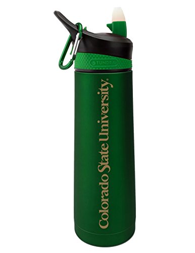 The Fanatic Group Colorado State University Dual Walled Stainless Steel Sports Bottle, Design 2 - Green